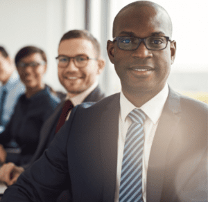 MBA finance male students smiling
